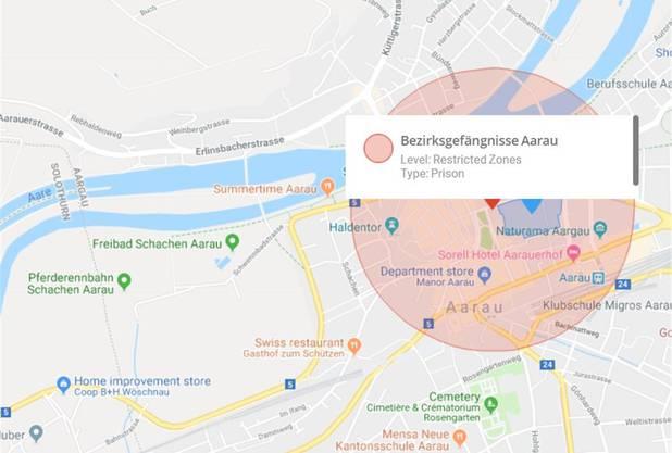 Fliegen unmöglich: Der Drohnenhersteller DJI erklärt Bezirksgefängnisse, wie hier in Aarau, zur «restricted zone».