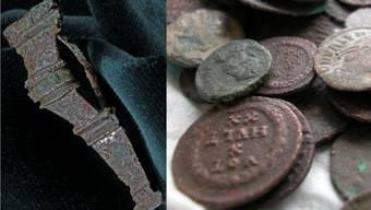 Bei den Ausgrabungen wurden unter anderem Fibeln (links) und Münzen gefunden (Symbolbild).