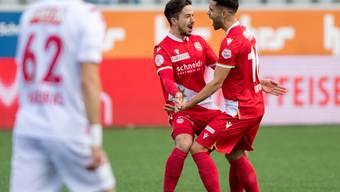 Thuner Freude bei Miguel Castroman (links) und Leonardo Bertone