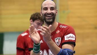 João Ferraz konnte seine HSC-Teamkollegen gegen die Kadetten nur von der Bank aus unterstützen.