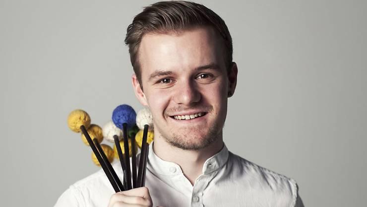 Der Perkussionist Fabian Ziegler aus Matzingen TG ist einer von drei Instrumentalisten, welche vom Migros Kulturprozent mit 14'400 Franken plus Konzertvermittlung gefördert werden. Sieben weitere Instrumentalisten und Instrumentalistinnen erhalten den selben Betrag ohne Konzertvermittlung. (zVg)
