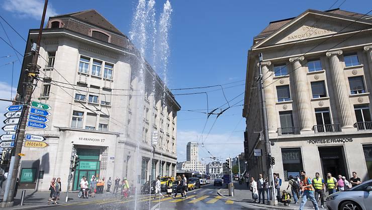 Während der Gartenschau Jardins 2019 hat auch die Stadt Lausanne ihren Springbrunnen.