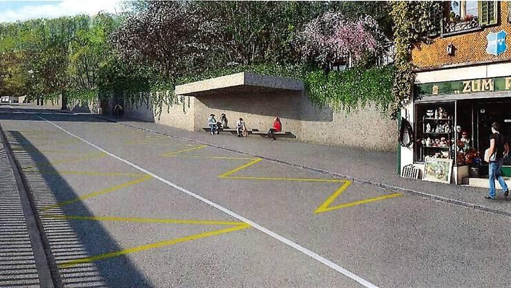 Die Visualisierung zeigt den neu gestalteten Bereich Baslerstich mit der neuen Stützmauer sowie den beidseitigen Bushaltestellen.