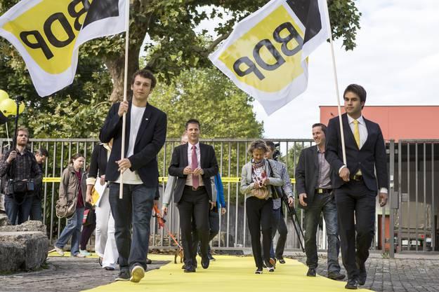 Höhepunkt der BDP Aargau: Bundesrätin Eveline Widmer-Schlumpf auf dem Weg zur Parteiversammlung in Aarau, am 5. September 2015.