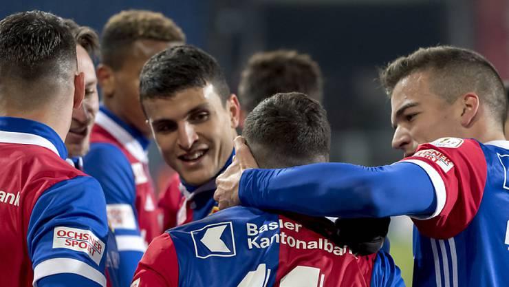Vom 0:1 zur Pause zum 5:1: Basels Spieler hatten gegen Sion x-fachen Grund zum Torjubel