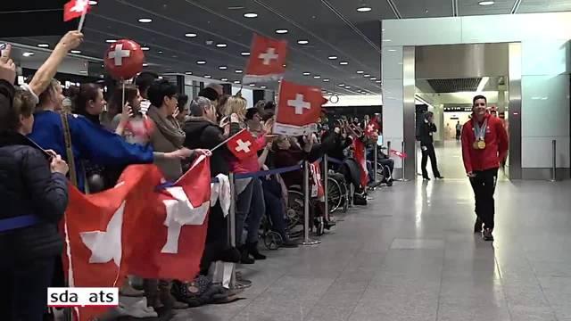 Empfang des dreifachen Goldmedaillengewinners Théo Gmür in Zürich