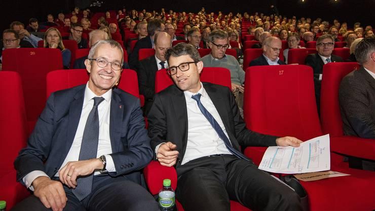 Verbrachten einen erfolgreichen Kinoabend im Küchlin: Thomas Weber (l.) und Lukas Engelberger.