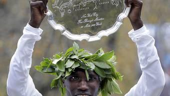 Geoffrey Kamworor, hier nach seinem Sieg am New-York-Marathon am 3. November 2019