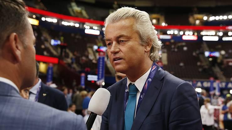 Geert Wilders an Donald Trumps Nominierungsparteitag: Wie der US-Präsidentschaftskandidat der Republikaner zählt auch der niederländische Rechtspopulist auf eine islamfeindliche Wahlplattform. (Archivbild)