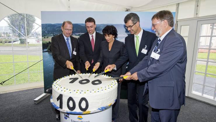 Regierungsrat Peter Beyeler, Nils Schmid, Finanzminister Baden-Württemberg, Bundesrätin Doris Leuthard. Martin Steiger, CEO Energiedienst Holding AG und Ernst Frey, Energieholding.
