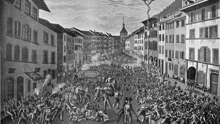 Zwei Basler Völker – oder doch nicht? Strassenkampf in Liestal zwischen Truppen der Stadt Basel und Verbänden der Landschaft, dargestellt auf einem Kupferstich von 1831.