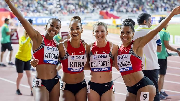 Die Schweizer 4x100-m-Staffel verpasste an den Weltmeisterschaften in Doha eine Medaille nur knapp