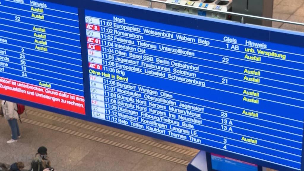 Fahrleitungsstörung sorgt für Zugschaos am Bahnhof Bern