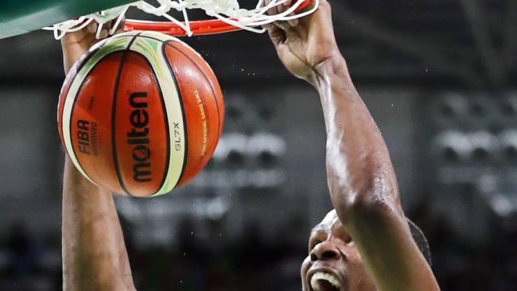 Die Freude eines Olympiasiegers: Superstar Kevin Durant führte das überlegene US-Team zur Goldmedaille