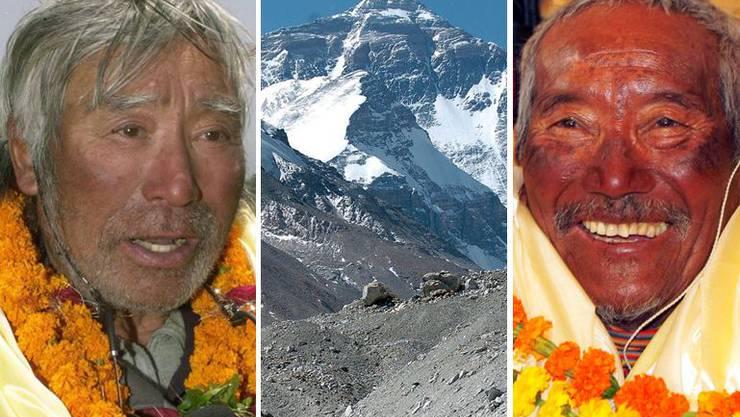 Yuichiro Miura (80) und Min Bahadur Sherchan (82, r.)