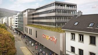 So sieht das Coop City nach der Sanierung aus. Büros und Wohnungen befinden sich im Gebäude oberhalb des Flachdachs. (Visualisierung)