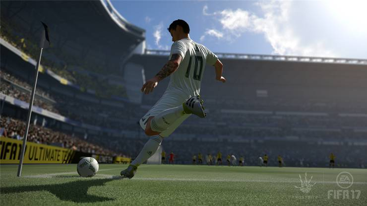 Eine Szene aus dem E-Sports-Spiel «Fifa 2017»: Kontrollieren bald echte FCB-Spieler die virtuellen Kicker?