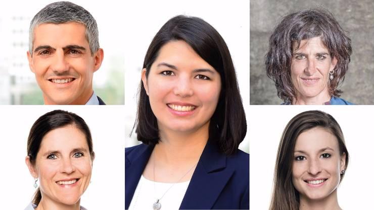 Sind neu im Einwohnerrat Baden: v.l. Gian von Planta (GLP), Fiona Hostettler (GLP), Corinne Schmidlin (Grüne), Vera de Vries (FDP), Franziska Schoop (FDP).