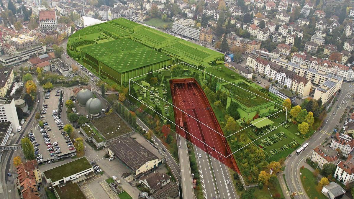 Der Deckel (rot) soll Platz für eine neue Olma-Halle schaffen.