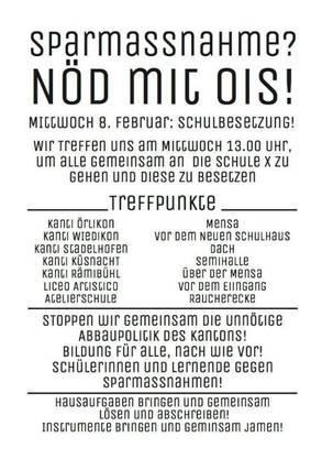 Aufruf zur Demonstration - dieser Flyer kursiert unter Kantischülern im Raum Zürich.