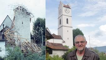 Ueli Flückiger vor der Stadtkirche Büren, deren Turm vor 50 Jahren – nach dem Einsturz im Jahre 1963 – wieder aufgebaut worden ist.