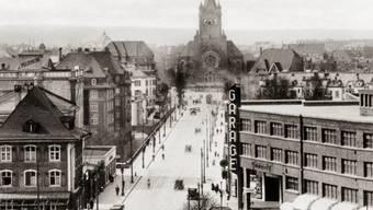 Die Pauluskirche von der Markthalle her gesehen (ca. 1930–39).