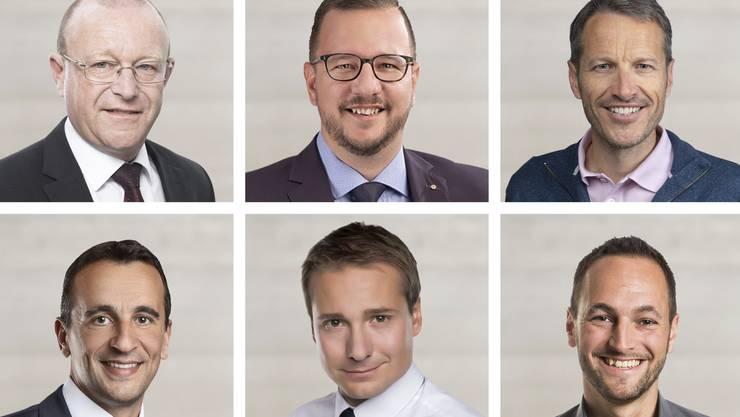 Die gewählten Walliser Nationalräte: (obere Reihe von links) Jean-Luc Addor (bisher), SVP; Philipp Matthias Bregy (bisher), CVP; Christophe Clivaz (bisher), Grüne. (untere Reihe von links) Sidney Kamerzin (neu), CVP; Philippe Nantermod (bisher), FDP; Mathias Reynard (bisher).