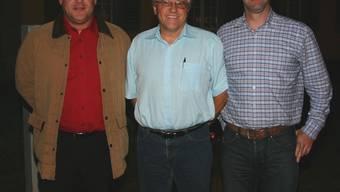 «Sitzgewinn»: Für Thomas Wymann, Valentin Meier und Andrea Hefti (von links) von der SVP steht das Ziel fest. (Bild: Louis Probst)