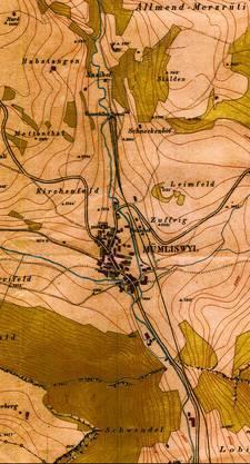 Grosses Thema: Plan für die Wasserfallenbahn mit Tunnelportal und Bahnhof in Mümliswil. Am 28. September 1875, ein Jahr nach Baubeginn, musste das Projekt abgebrochen werden. (Bild: ZVG)