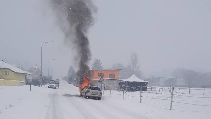 Das brennende Auto in Hubersdorf.