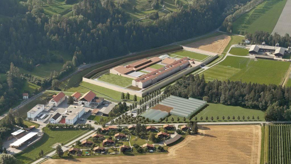 Visualisierung der neuen Strafanstalt in Realta mit der sieben Meter hohen Mauer.