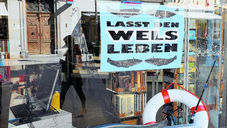 Aktiv: Mit einem Schaufenster will Alfred Stähli vom Buchhaus Lüthy die Öffentlichkeit auf die Wells-Jagd aufmerksam machen. (Oliver Menge)