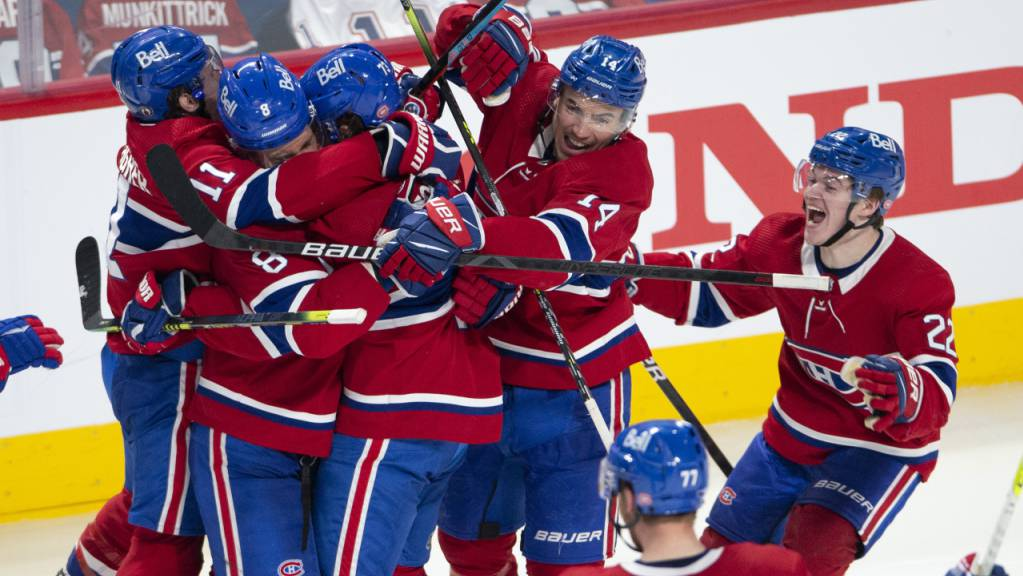 Grosser Jubel bei den Montreal Canadiens nach dem Einzug in die Playoff-Halbfinals.