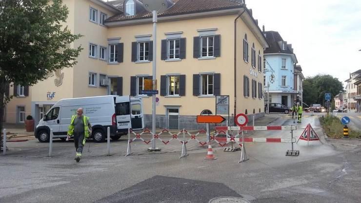 Die Kirchstrasse wurde gestern einseitig gesperrt.