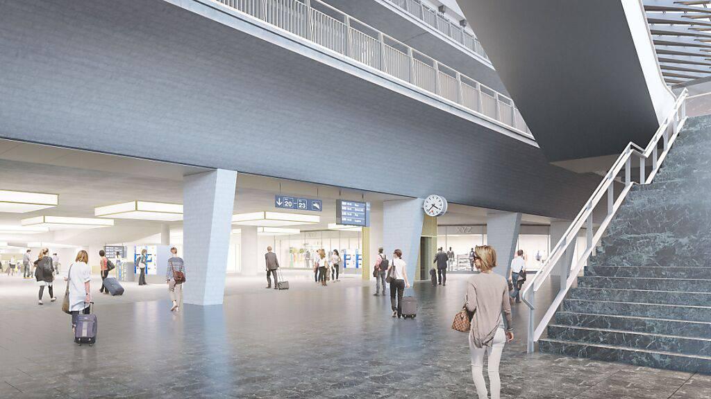 Eine Visualisierung zeigt den Durchgangsbahnhof, wie er in Luzern entstehen soll.
