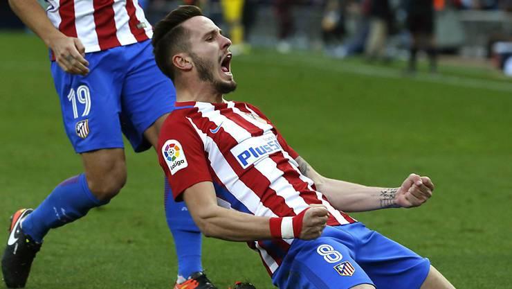 Saul Niguez von Atlético Madrid feiert seinen entscheidenden Treffer.