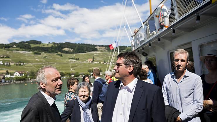 Die SP-Fraktion mit SP-Präsident Christian Levrat (Mitte) am Mittwoch auf ihrem Ausflug.