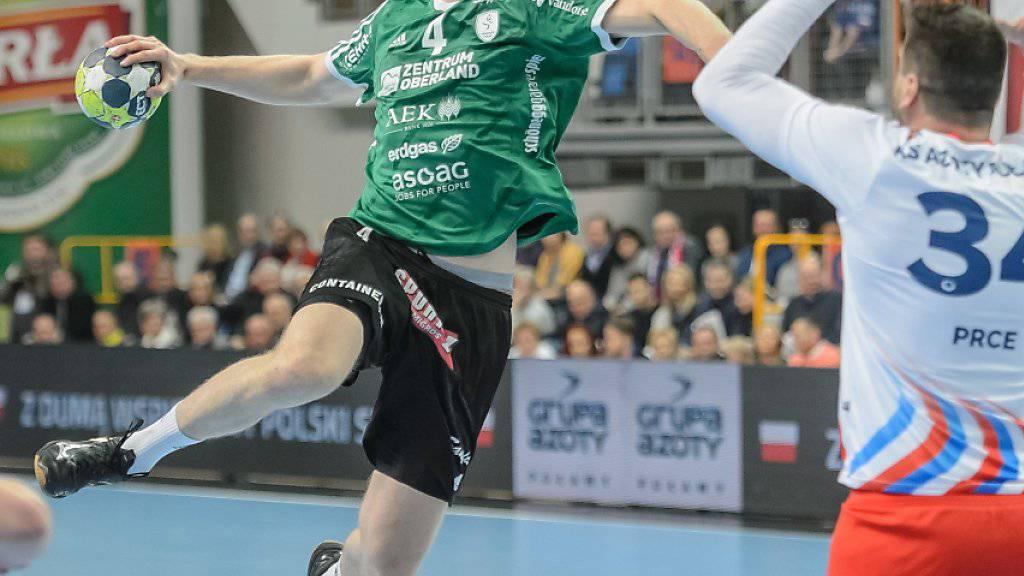 Lenny Rubin und Wacker Thun kamen im EHF-Cup zum ersten Sieg