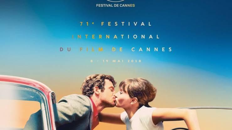"""Das offizielle Poster der 71. Internationalen Filmfestspiele Cannes zeigt eine Filmszene aus Jean-Luc Godards """"Pierrot le fou"""" (1965). 2018 ist der schweizerisch-französische Regisseur wiederum im Wettbewerb vertreten, wie die Festivalleitung am Donnerstag bekannt gab."""