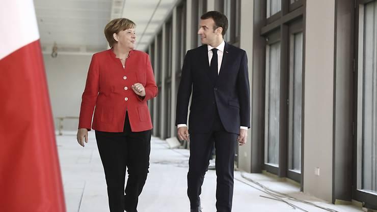 Bundeskanzlerin Angela Merkel mit ihrem französischen Gast, Präsident Emmanuel Macron