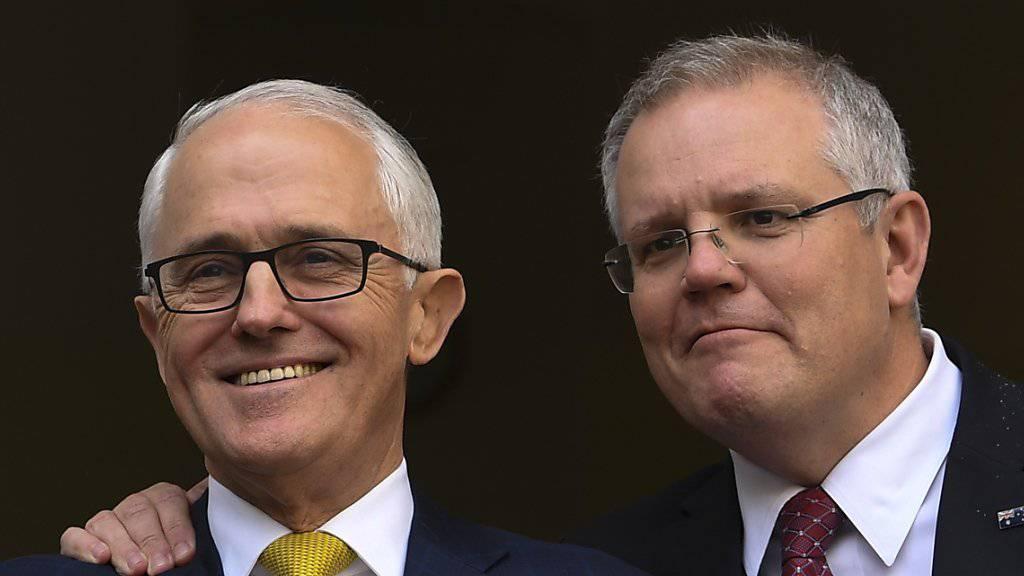 Scott Morrision (Rechts) wird neuer Regierungschef Australiens. Er ersetzt seinen liberalen Parteikollegen Malcolm Turnbull. (Archivbild)