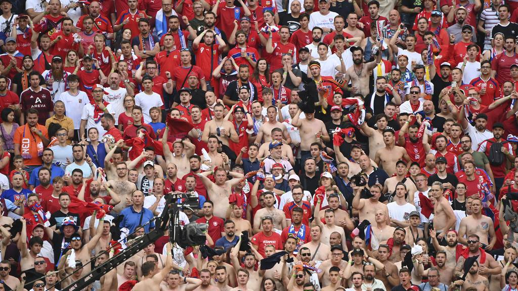 Czech Republic fans inside the stadium during the Euro 2020 soccer championship round of 16 match between the Netherlands and Czech Republic at the Puskas Arena in Budapest, Hungary, Sunday, June 27, 2021.