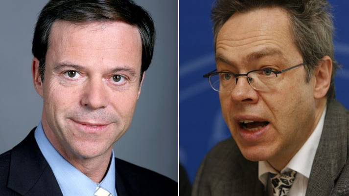 Christoph Mörgeli (links) und Sebastian Brändli.