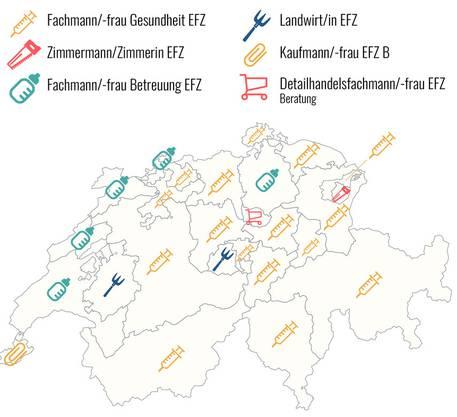 Die zweitbeliebtesten Lehrberufe nach der klaren Nummer eins Kaufmann/-frau EFZ E.
