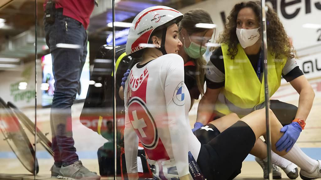 Michelle Andres an der Bahn-EM in Grenchen: Vor drei Tagen noch gestürzt, nun im Madison mit Léna Mettraux auf Platz 4 gefahren