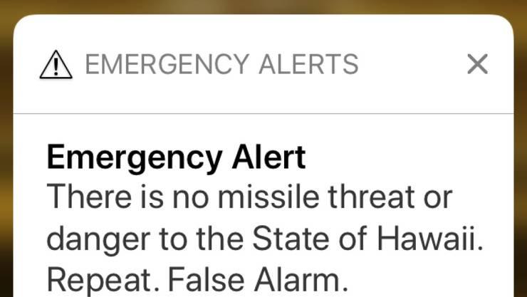 """""""Es gibt keine Raketenbedrohung oder Gefahr für den Bundesstaat Hawaii"""": Kurze Zeit nach der falschen Alarmmeldung verschickte die Katastrophenschutzbehörde eine Entwarnung an die Mobiltelefone."""