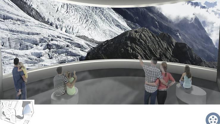 Panoramabilder vom Jungfrau-Aletsch-Gebiet sollen die Besucherinnen und Besucher des World Nature Forums in Naters begeistern.