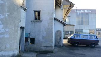 Hier beginnt der Audiorundgang: Alte Mühle auf dem Huggler-Areal in Suhr. zvg