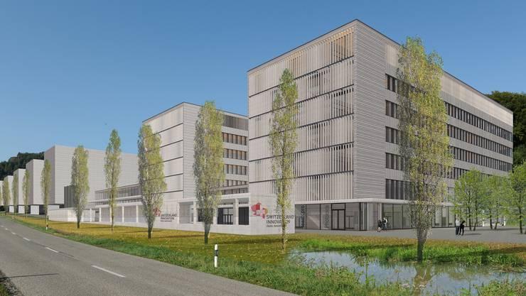 Diese Visualisierung zeigt, wie sich der Park Innovaare in Villigen dereinst präsentieren soll.