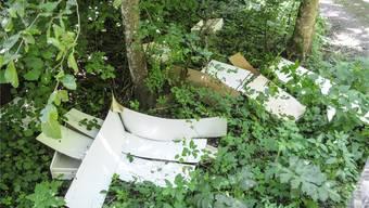 Unbekannte haben Einbauschränke illegal im Wald entsorgt.
